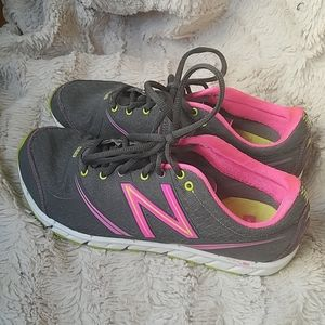 New Balance pink and gray running shoes